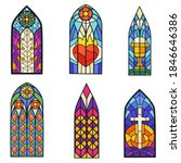 gothic colorful stained glass... | Shutterstock .eps vector #1846646386