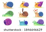 Funny Snail Characters Flat Se...