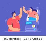 video call conversation and... | Shutterstock .eps vector #1846728613