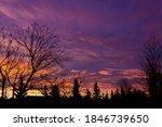 Prairie Sunrise over trees, Lloydminster Alberta Canada