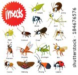 set of vector insects | Shutterstock .eps vector #184676576