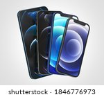Small photo of ITALY -01 NOVEMBER, 2020: Iphone 12, 12 Mini, 12 Pro and 12 Max smartphones on white background. Latest Apple Mobile iphones model. Illustrative editorial.
