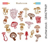 set icons mushrooms vector... | Shutterstock .eps vector #184679969