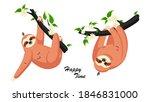 cute cartoon sloth. adorable... | Shutterstock .eps vector #1846831000