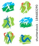 fitness and outdoor sports... | Shutterstock .eps vector #184683290
