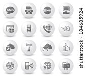 communication white icons on... | Shutterstock .eps vector #184685924