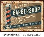 barber shop metal plate or... | Shutterstock .eps vector #1846912360
