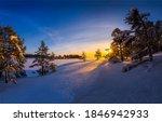 Sunrise in winter snow nature...
