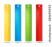 colored rainbow plastic rulers. ... | Shutterstock .eps vector #184694933