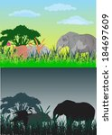 elephants silhouettes  | Shutterstock .eps vector #184697609