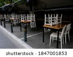Small photo of Exterior view of a closed restaurant during the first day of implementation of the new restrictive measures against the spread of the pandemic of Covid-19, in Athens, Greece on November 3rd, 2020.