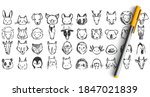 animals doodle set. collection... | Shutterstock .eps vector #1847021839