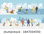 active people in the winter... | Shutterstock .eps vector #1847034550