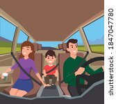 family driving to a road trip.... | Shutterstock .eps vector #1847047780