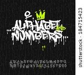 graffiti splash alphabet ... | Shutterstock .eps vector #184715423