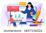 a girl communicate and prepare... | Shutterstock .eps vector #1847156026