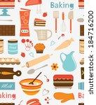 baking seamless pattern. vector ... | Shutterstock .eps vector #184716200