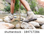 Hiking Shoes On Hiker Outdoors...