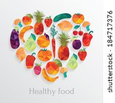 healthy food. fruit and... | Shutterstock .eps vector #184717376
