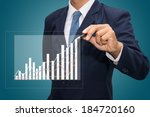 male hand drawing a graph.  | Shutterstock . vector #184720160