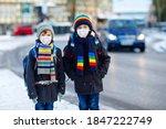 Two Kids Boys Wearing Medical...