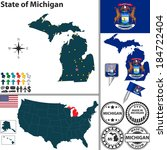 Vector set of Michigan state with flag and icons on white background