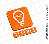 tips and bulb symbol   text... | Shutterstock .eps vector #184723814