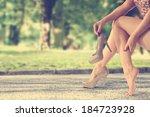 vintage photo of woman legs  | Shutterstock . vector #184723928