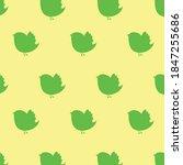 Green Color Cute Bird Pattern...
