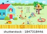 fun playground at backyard ... | Shutterstock .eps vector #1847318446