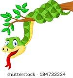 ������, ������: Cartoon green snake on