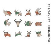 funny sketch bull collection.... | Shutterstock .eps vector #1847347573