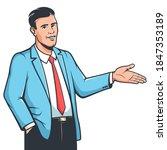 stylish man in suit explain... | Shutterstock .eps vector #1847353189