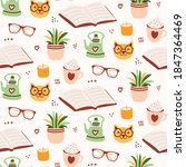 cozy reading seamless pattern... | Shutterstock .eps vector #1847364469