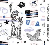 seamless pattern with usa... | Shutterstock .eps vector #1847392933