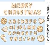 christmas alphabet from cookies.... | Shutterstock .eps vector #1847400010