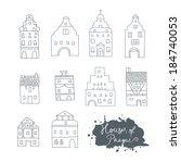 set of the old european city... | Shutterstock .eps vector #184740053