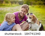 happy mother and daughter with... | Shutterstock . vector #184741340