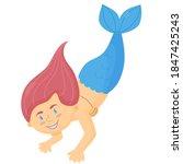 Cute Girl Mermaid Isolated On...