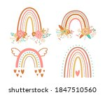 floral rainbow set tribal boho...   Shutterstock . vector #1847510560