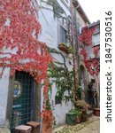 Small photo of Calcata, Italy-November, 2020: The hill towns fortified historic center. Today the town has a thriving artistic community, home to a wacky community of about 100 artists.