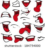 set of mouths cartoon  | Shutterstock .eps vector #184754000
