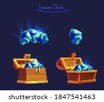 set of open wooden chests with...