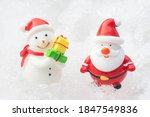 santa claus and snowman on snow ... | Shutterstock . vector #1847549836