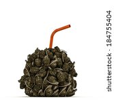 grenades drink with orange straw - stock photo