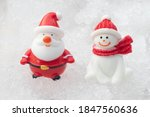 santa claus and snowman on snow ... | Shutterstock . vector #1847560636