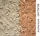 Small photo of Natural silty soil background, gray and red.