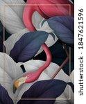 tropical flamingo on a golden...   Shutterstock . vector #1847621596