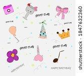kawaii birthday vector... | Shutterstock .eps vector #1847632360