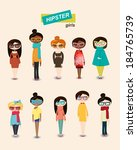 hipster girl fashion set | Shutterstock .eps vector #184765739
